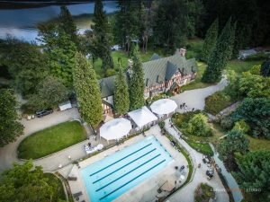 Pool mansion aerial